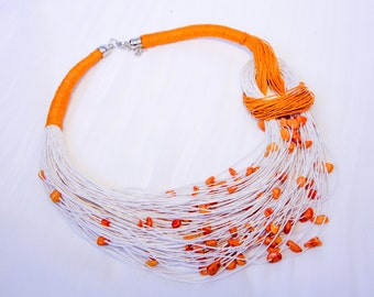 Linen thread necklace
