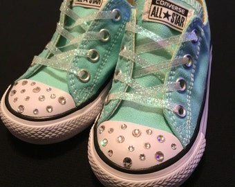 Girls mint Converse blinged with Swarovski crystals