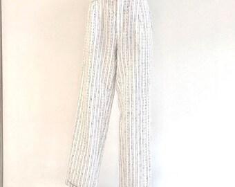 Designer Santarelli Pants Vintage White Striped Linen Cotton Pants 80s Summer Pants High Waist Trousers Size Medium