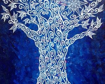 Original Acrylic Mandala Blue Henna Earth Spirit Tree Painting by Bronwen Valentine