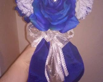 big blue rose and white carnation silk flower bouquet