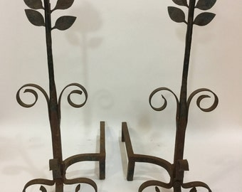 Vintage Floral Fireplace Andirons - Pair