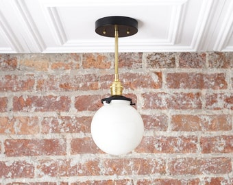 Semi Flush Fixture -  Globe Lamp - Modern Pendant Light - Gold Ceiling Light - Brass Pendant Light