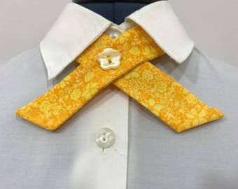 Continental Neck Tie with Yellow and Gold Flowers