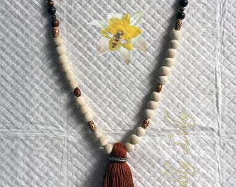 Brown Wooden Tassel Necklace