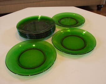 Mid-Century French Vereco Emerald Green Plates - Tempered Glass! (set of 8)