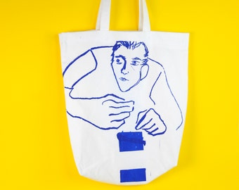 Screen printed tote bag, recycled tote bag, blue cotton tote bag