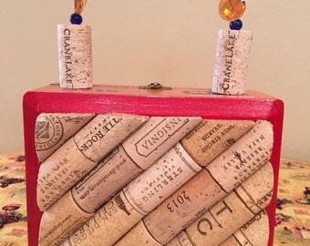 Wooden cigar box purse with cork application