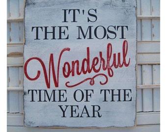 Wooden Christmas Sign Decor