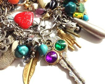 Edgy Rocker Assemblage Charm Bracelet, Altered Art, Mixed Media, Chunky Statement Bracelet, Found Objects, Vintage Assemblage, EdgyJewels