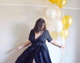 Rayon wrap. Wrap dress. Summer wrap. Bridesmaids dress. Party outfit. Wrap. Handmade dress. Handmade wrap dress. Black dress. Black wrap.