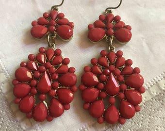 Coral Jeweled Boho Fan Earrings, Festival Earring Style, Bohemian Flair