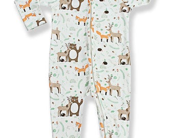 Baby Boys Girls Pajammie Zipsuit Forest Friends Bamboo Organic Cotton Footed Footie Pajamas PJs Sleeper Onesie Romper
