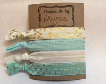 Soft Elastic Hair Tie- Teal and Arrow Theme