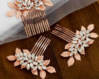 Wedding Hair Comb Rose gold Rhinestone Hair Comb Wedding Jewelry Bridal Hair Comb Bridesmaid Comb Bridal Jewelry Hair Piece Daisy