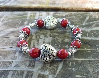Red and Silver Heart beaded bracelet