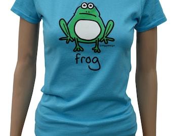 Womens hop FROG fitted aqua blue T.shirt.