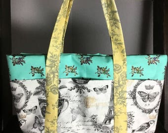 Small Tote Bag with Pockets - Paris - Elegant pastel green, black, white and soft yellow