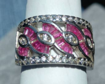 925 Sterling Silver, Pink stone, Marcasite Ring