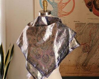 vintage Oscar de la Renta scarf . square metallic scarf . Persian rug style scarf . Oscar de la Renta Accessory Street, made in Italy