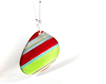 SALE - Diagonal Striped Disk - Fused Glass Jewel Pendant Necklace - Red Lime Aqua - Handcut Glass Gemstone No. 67
