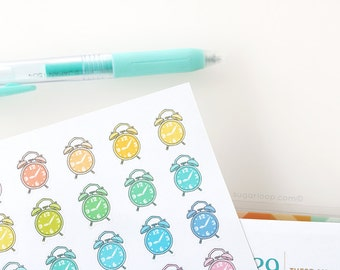 24  Alarm Clock, Cute, Pastel, Hand drawn, Doodle, Planner Stickers, reminder, schedule, appointment, work, study, school, meeting, APP6