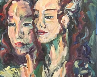 Mme. de Ville and Daughter expressionistic acrylic portrait study in Purples, blues and greens