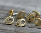 brass and sterling silver tiny teardrop stud earrings