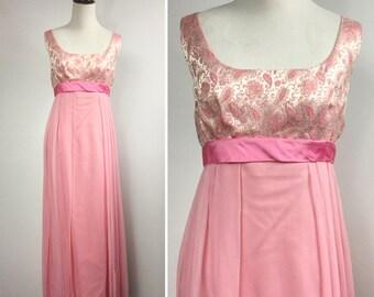 Pink Chiffon Gown, Metallic Paisley Brocade Bust, Satin Ribbon Bow, Empire Waist, Long Straight Sleeveless Flowy Formal Dress, Vintage 60s
