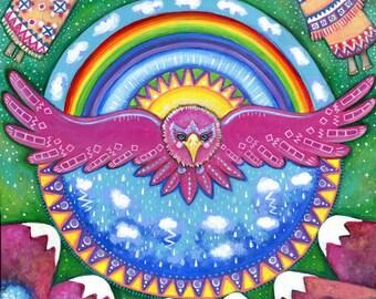Thunderbird Girls room wall decor A4 twin brunette Girls print art for kids nursery wall Thunderbird Art Pink Eagle art print Gift for Twins