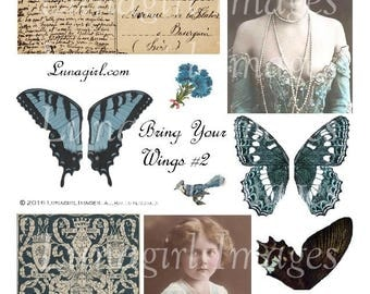 WINGS BLUE ephemera digital collage sheet, DOWNLOAD vintage images, antique postcards photos, printable altered art, butterflies women roses