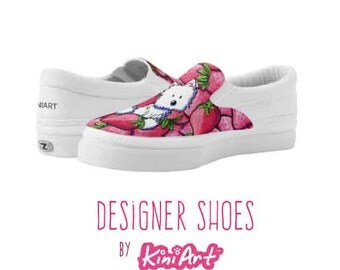 KiniArt Strawberry Westie Zipz Shoes Lowtop Sneakers or Slip-ons