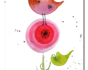 Pink pretty bird purple flower original painting lauren alexander