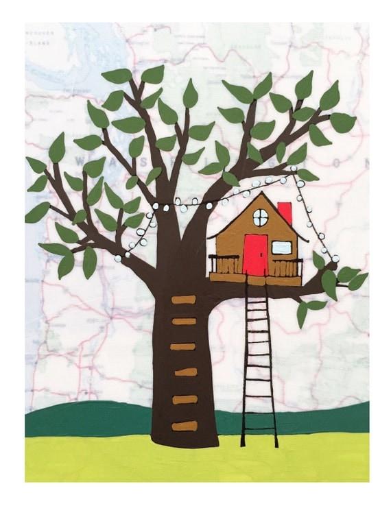 NEW // Treehouse Card // Cute Everyday Card // Map Card // Friendship Card // Housewarming Card // Blank Card // Rachel Austin Cards