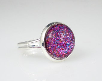 Glittery Fuchsia Pink Nail Polish Adjustable Ring Rockstar Nail Polish Jewelry