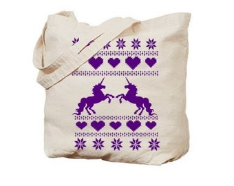 Unicorn Tote Bag reusable bags farmers market Christmas totes Indie Screen Printed Housewares holiday unicorns gifts Prints gift for girls