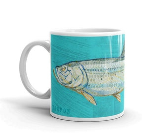 Fish Coffee Mug- Husband Gift- Fish Mug- Tarpon Mug- Fishing Gift- for Fisherman Gift- Fish Gift for Him