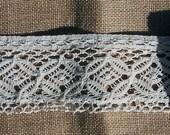 Vintage Lace Edging, 62 inches, VERY wide Crochet Lace, Farmhouse Decor, Lolita, Farmhouse Style, Mori Girl Style, Very Light Ecru