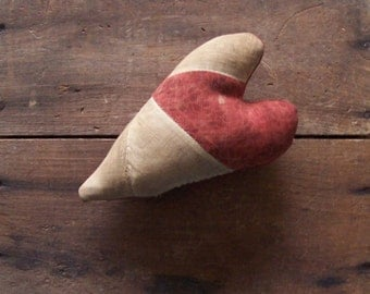 Rustic Heart Bowl Filler, Valentine Heart, Americana Decor, Primitive Heart, Christmas Ornament, Red Heart, Red White Black - READY TO SHIP
