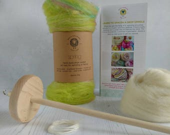Learn to Spin Your own Art Yarn - Spinning Kit - Drop Spindle Kit - Learn to Spin Kit - Spinning Batt - Drop Spindle - Spinning Instructions