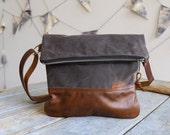 Waxed Canvas and Leather Foldover Crossbody Bag Portobello / Handmade Leather and Canvas Purse / Foldover Bag with Strap