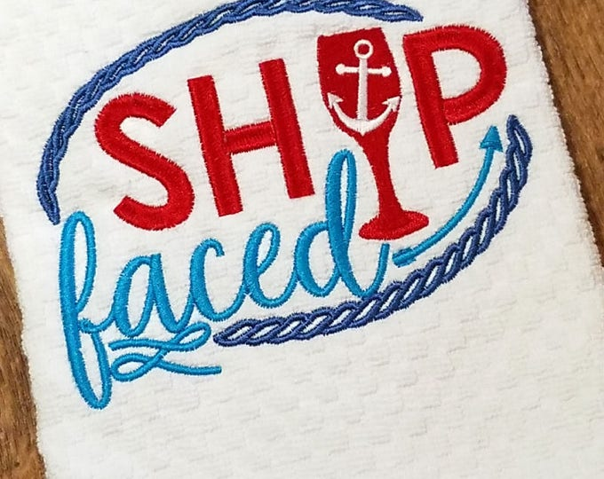 Kitchen Towel, Ship Faced, Cruise Decor, Boating Gifts, Embroidered Towel, Beach Themed Gifts, House Warming Gift, Wedding Shower