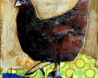 Chicken,hen  mixed media painting  chunky gallery canvas Heather Murray