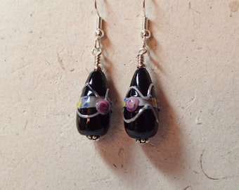 Black and Silver Wedding Cake Glass Earrings