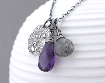 Amethyst Necklace Long Silver Necklace Pendant Gemstone Charm Necklace Handmade Amethyst Jewelry - Duets