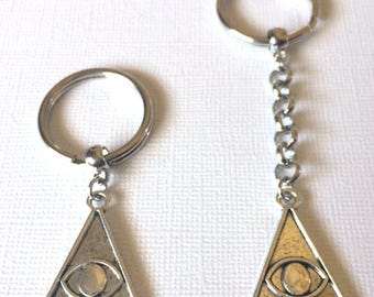 Silver Illuminati Evil Eye Keychain Keyring or Zipper Pull