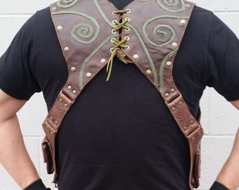 Brown and Green Leather shoulder holster with Swirls by Darkwear Clothing Co.