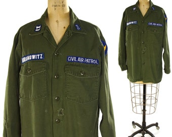 70s OG-107 US Military Shirt / Vintage United States Air Force Civil Air Patrol Button Up / Army Green Cotton / Long Sleeve Fatigues / L