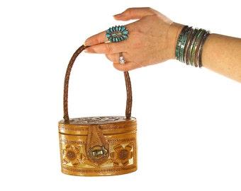 50s Mini Tooled Leather Handbag / Vintage 1950s Tiny Embossed Oval Box Purse / Rare Handmade Southwestern Mexican Boho Folk Art Bag