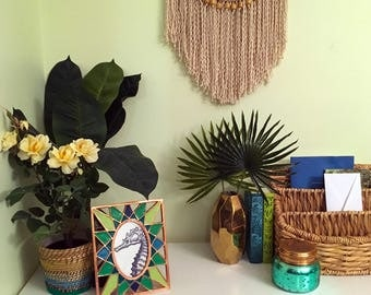Small Beaded Symmetrical Macrame Wall Hanging on Natural Driftwood